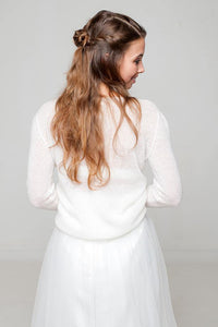 Bridal cashmere pullover knitted for your wedding skirt or dress