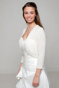 Bridal jacket knitted of cashmere in ivory for your wedding dress