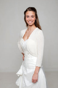 Bridal jacket knitted of soft wool in white and ivory for your wedding dress