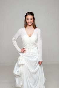 Wedding cardigan knitted for Brides from Beemohr ivory and white