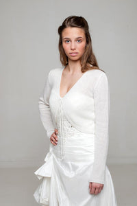 Wedding jacket knitted for Brides made of cashmere merino