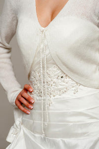 Wedding jacket knitted for Brides made of cashmere merino with cord