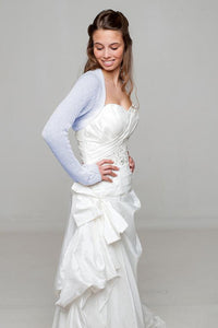Cashmere knit bolero for brides in ivory, blue and white with hearts