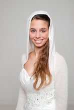 Load image into Gallery viewer, Wedding jacket knitted with hood for special bridal outfits