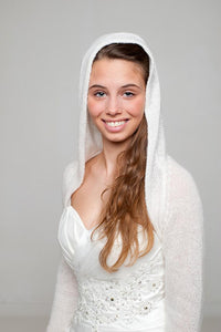 Wedding jacket knitted with hood for special bridal outfits