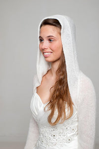 Bridal jacket knitted with hood for special bridal outfits