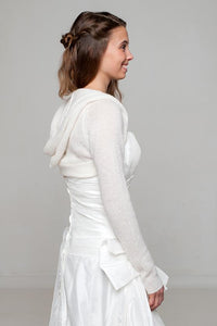 Hoody in ivory knitted for your wedding dress or skirt