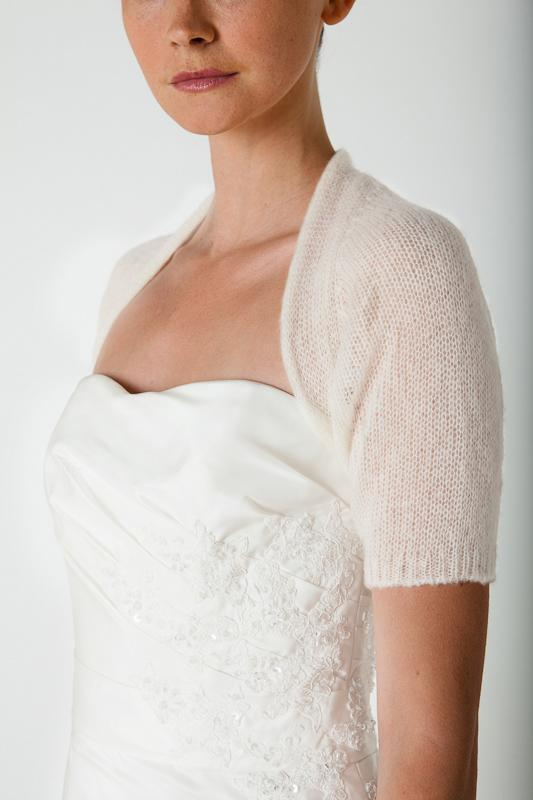 Wedding knit bolero cashmere for bridal gowns ivory