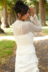Knit Bolero ivory and gold for your bridal gown with letters embroidered