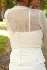 "Knit jacket embroidered with silver and gold ""Ja"" ""YES"" for your wedding"