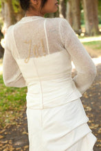 "Load image into Gallery viewer, Knit jacket embroidered with silver and gold ""Ja"" ""YES"" for your wedding"