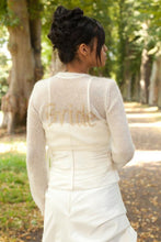 Load image into Gallery viewer, Knit Bridal Bolero ivory and gold for your bridal gown with letters