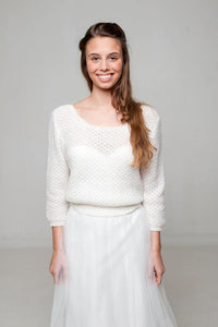 Wedding pullover knitted with soft wool white, ivory and powder