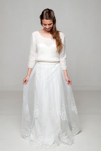 Knit Lace pullover for your bridal gown in ivory