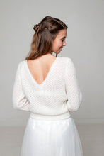 Load image into Gallery viewer, Knit pullover PARIS made of CASHMERE in a tender lace pattern for your wedding skirt or dress