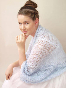 knit bolero loose in blue and ivory for your wedding dress