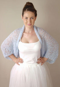 knit bolero big in blue grey for your wedding dress