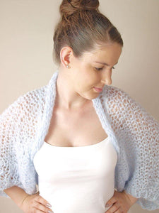 knit bolero loose in blue grey for your bridal gown