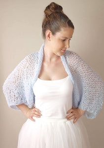 Mohair knit bolero loose in blue grey for your wedding dress