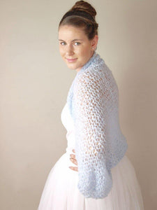 knit bolero loose in blue grey for your wedding dress or skirt