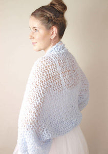 knit bolero loose in blue grey for your wedding dress from beemohr
