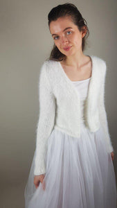 wedding knit jacket white and blush cuddly and cosy