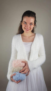 Cuddly knit cardigan white for wedding skirts