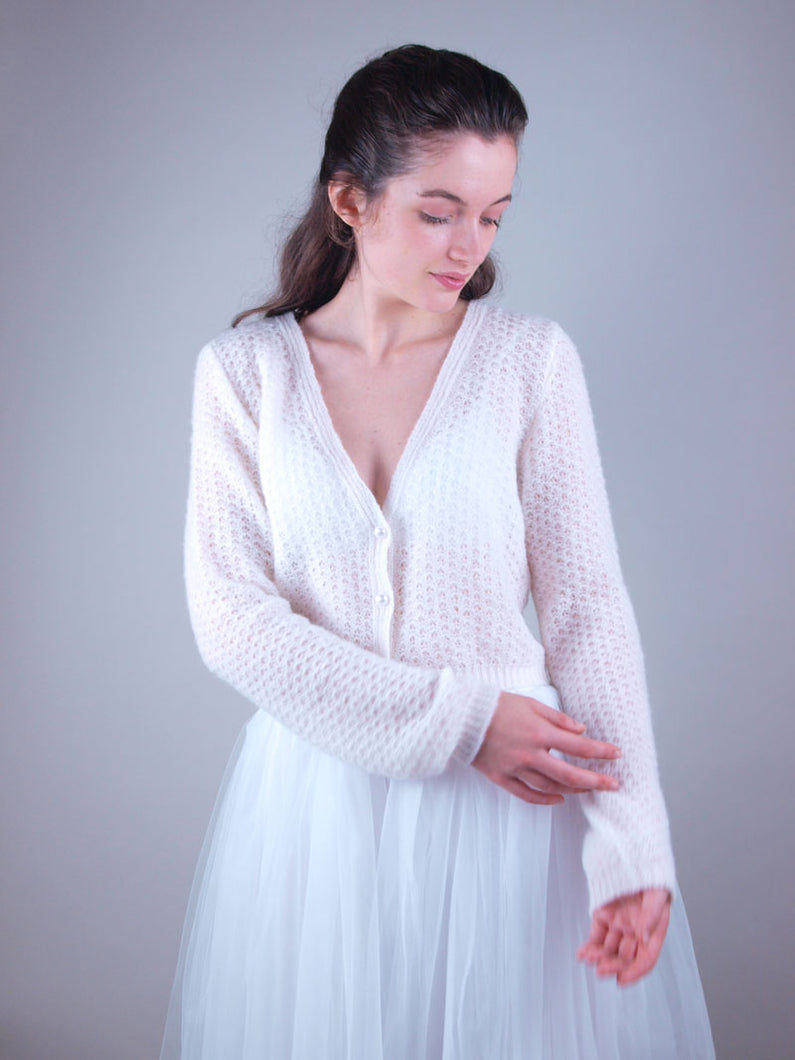 Lace cardigan MIAMO knitted with soft wool & knots