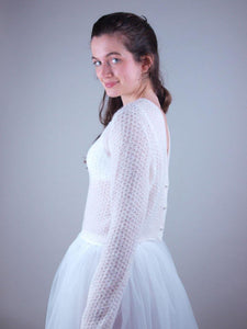 Lace jacket in ivory knitted for weddings