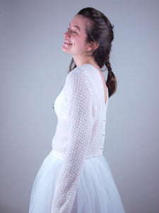 Bridal cardigan in ivory knitted for weddings