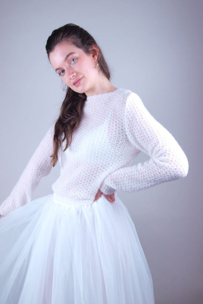 Knit cardigan with tulle skirt for weddings