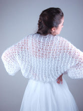 Load image into Gallery viewer, knit bolero white blue grey
