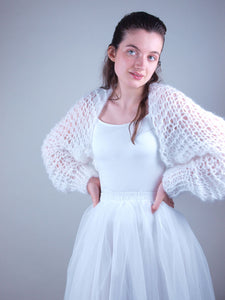 white bridal jacket knit couture beemohr