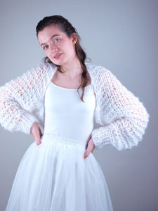 Knit bolero loose look through white blush
