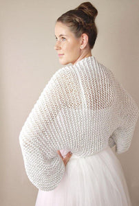 Bridal bolero in silver knitted for your wedding dress