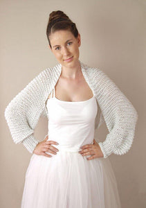 Bridal bolero in silver and gold knitted for your wedding