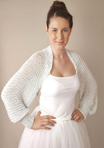 Bridal bolero in silver knitted for your wedding