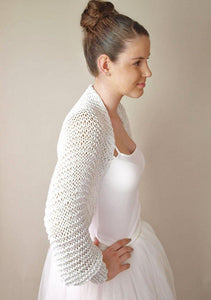 Bridal jacket in silver knitted for your wedding