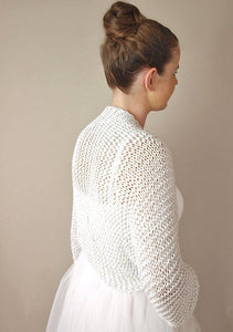 Bridal bolero in silver and golden knitted for your bridal gown