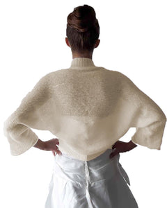 Loose knit jacket for bridal gowns white and ivory