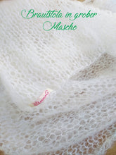 Load image into Gallery viewer, Knit Kit: Bridal stole knitted in loose pattern for your wedding gown