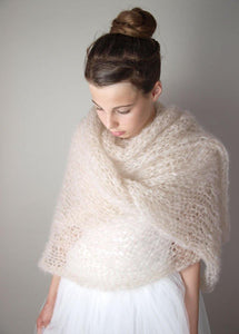 Bridal stole knitted for your bridal gown ivory and powder
