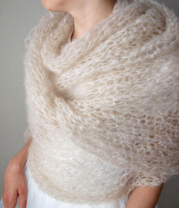 Wedding stole knitted for your bridal gown ivory