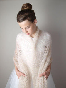 Bridal stole knitted for your bridal gown ivory