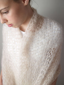 DIY bridal stole knitted with mohair for your wedding gown ivory