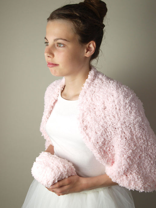Bolero for brides knitted in rose