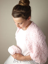 Load image into Gallery viewer, Bolero for brides knitted in rose and pale blue