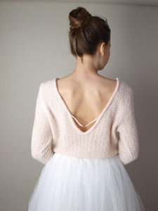 Bridal pullover knitted in powder, ivory and white for Boho and Bohemian Brides