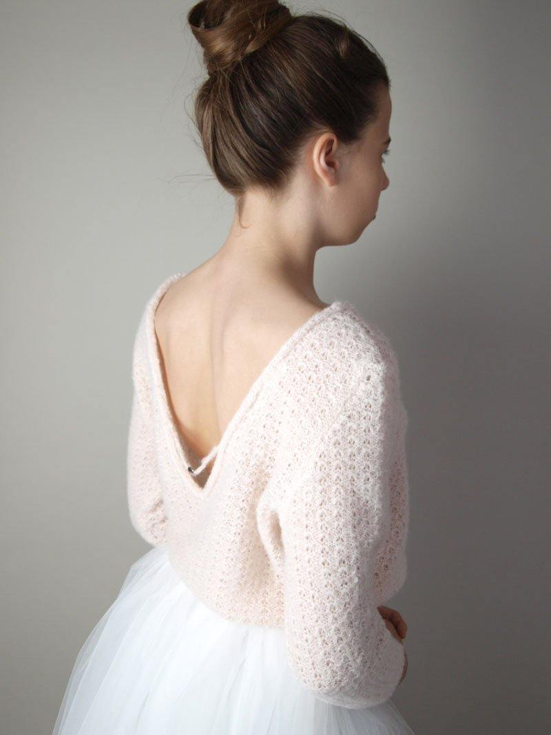 Wedding pullover knitted in blush, powder, ivory and white for Boho and Bohemian Brides