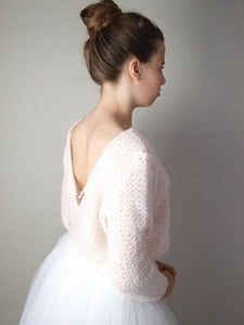 Wedding pullover knitted in powder, pale blue, ivory and white for Boho and Bohemian Brides